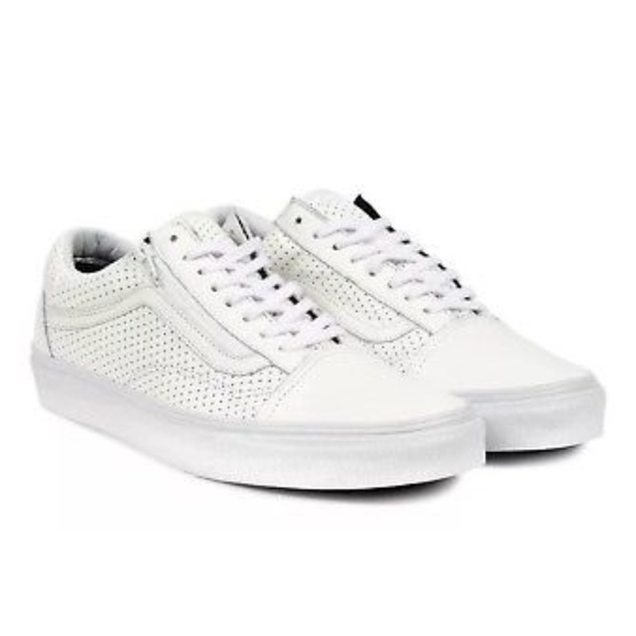 1535b9d85fa Vans Old Skool Zip Perf Leather True White Shoes+